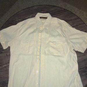 Yellow linen short sleeve button down.